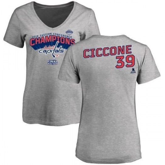 Enrico Ciccone Washington Capitals Women's Gray 2018 Eastern Conference Champions Long Change V-Neck T-Shirt - Heather